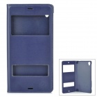 Protective PU + PC Flip-Open Case w/ Dual Window Display for Sony Xperia Z3 - Blue