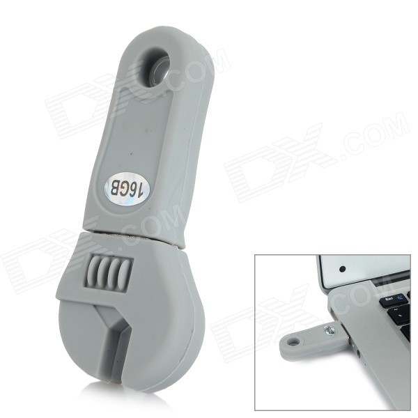 Mini Artificial Wrench Style USB 2.0 Flash Drive - Grey (16GB)