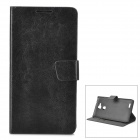 Protective Flip Open PU Case Cover w/ Stand + Card Slot for Huawei Ascend Mate 7 - Black