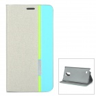 Protective PU Flip-Open Case w/ Card Slot, Stand for Samsung Note 4 - Grey