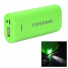 DIY 2 x 18650 Li-ion Mobile Power Bank Case w/ LED Flashlight - Green