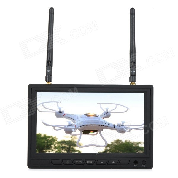 5.8GHz 32-CH 7 TFT LCD FPV Aerial Display Monitor w/ Antenna - Black 7 fpv monitor 5 8g 32 ch wireless receiver dvr w antenna for 5 8g fpv system black