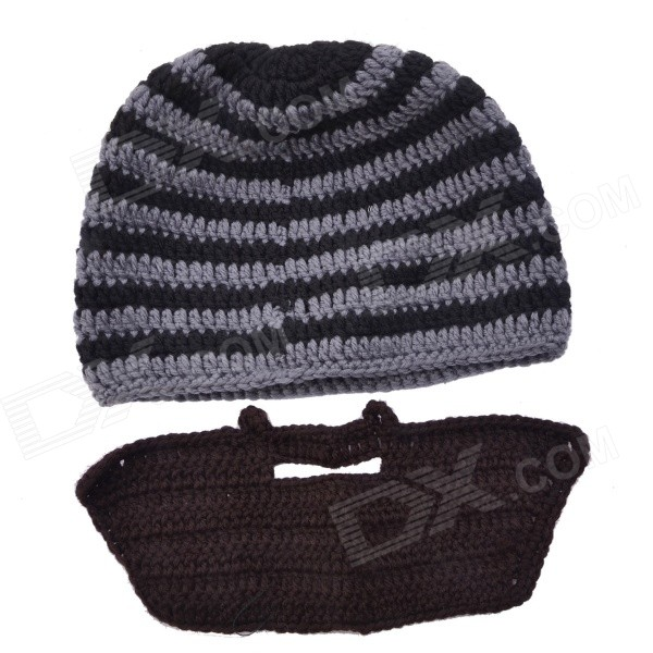 NEJE ZJ0072-2 Creative Beard Style Autumn / Winter Wear Wool Hat - Grey + Black hot winter beanie knit crochet ski hat plicate baggy oversized slouch unisex cap