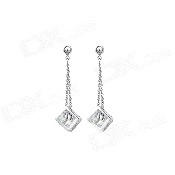 Women's Fashionable Hollow-out Square Crystal Pendant Earrings - Silver (Pair) square shaped stylish crystal zinc alloy stud earrings black bronze pair