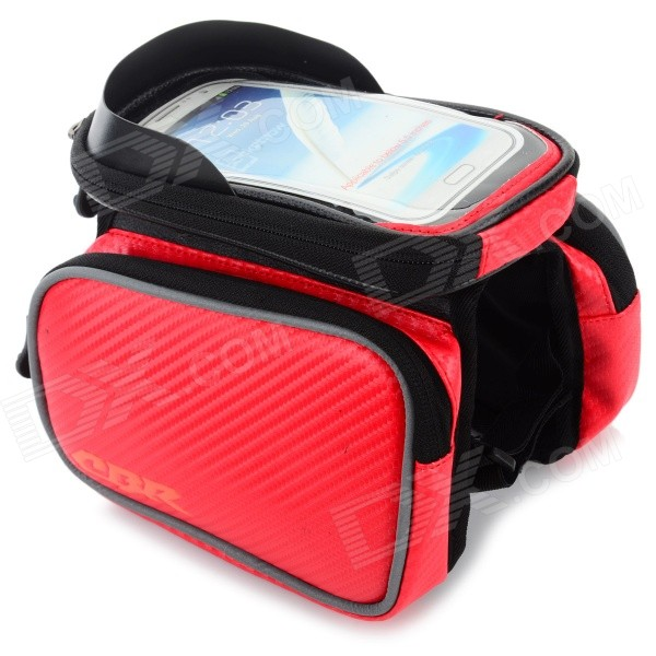 CBR CBR-09 EVA Bike Top Tube Bag w/ Glare Shield for Touch Screen Phones - Black + Red roswheel universal touch screen top tube saddle bag w earphone hole for cell phone black l
