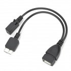 USB 2.0 Female to Micro USB / Micro-B USB 3.0 OTG Cable for Samsung - Black