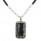 Rectangle Shaped Rhinestone Inlaid Pendant Necklace - Black + Silver