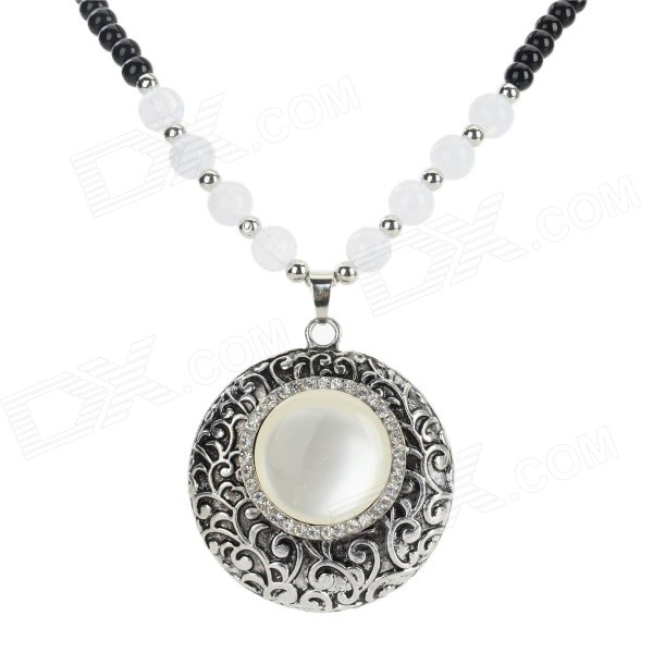Retro Style Round Shaped Azure Stone + Glass + Alloy Pendant Necklace - Black + White