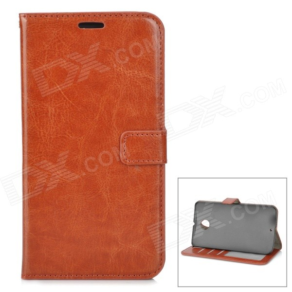 Protective PU Leather Case w/ Card Slots / Stand for Google Nexus 6 - Brown protective pu leather case w card slots for google nexus 7 ii deep pink brown