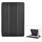 Protective PU Cover Case w/ Translucent PC Back / Stand for IPAD AIR 2 - Black