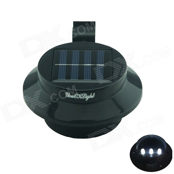 YouOKLight 0.5W 3-LED White Light Mini Waterproof Solar Powered Fence / Garden / Lamp - Black