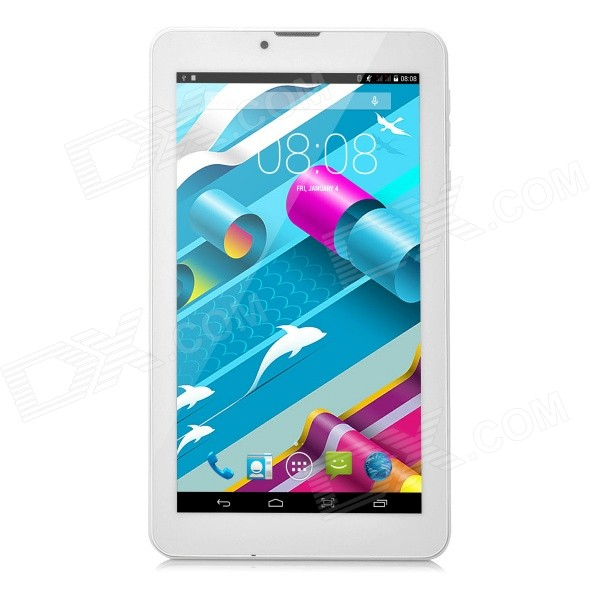 7 IPS MTK8312 Android 4.4.2 Dual-Core 3G WCDMA Tablet PC w/ 4GB ROM, Dual-SIM - White + Red jiake f1w 5 0inch capacitive touch screen mtk6572 dual core 1 2ghz smartphone 512mb 4gb 2 0mp 0 3mp android 4 2 os 3g gps with protective case black
