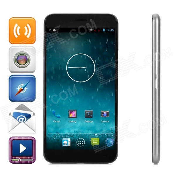 100+ V6(100CW) 5.5 FHD 3G Android 4.2.2 Smart Phone w/ 2GB RAM, 32GB ROM, Dual-SIM - Black + Grey water proof dual core android 4 2 phone w dual sim walkie talkie infrared laser light black