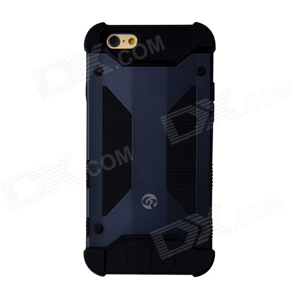 GeekRover Armor Hybrid Metal + Silicone Case for IPHONE 6 4.7 - Navy Blue + Black hybrid rugged armor shockproof tpu cover case for iphone 7