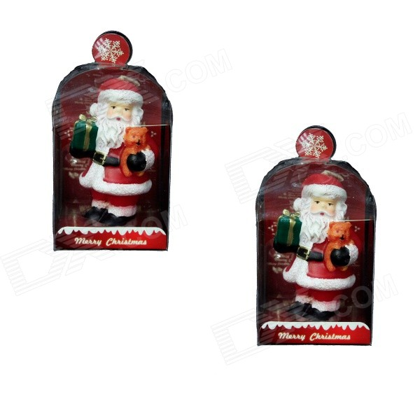 8.CH729A8BZ2AF2-09031753 Santa Claus with Gift Style Candle - White + Red (2 PCS)