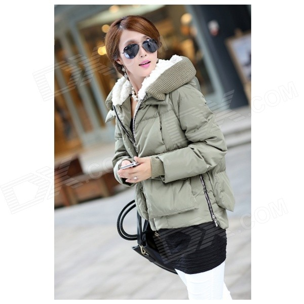 KN-33 Women's Winter Wear Stylish Thickened Warm Hooded Down Jacket Coat - Army Green (M)