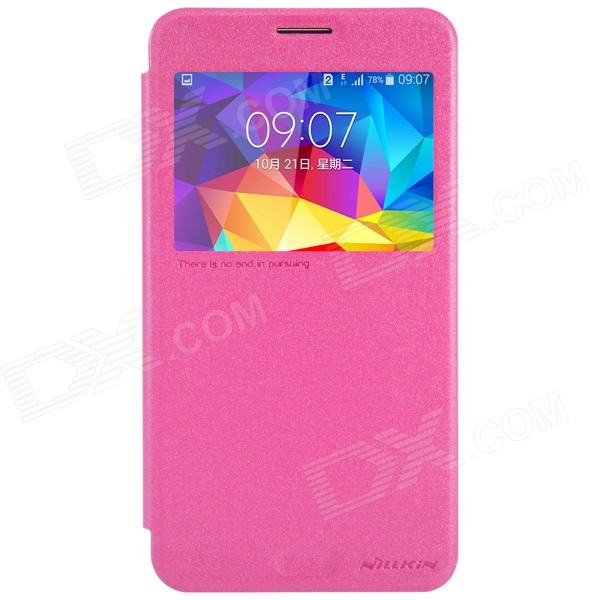 NILLKIN PU + PC Flip Open Case w/ Display Window for Samsung Galaxy Mega 2 - Deep Pink miniisw c 3 pu leather flip open case w display window for samsung galaxy s5 off white black