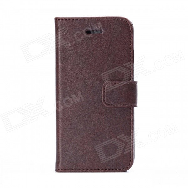 Flip-open PU + PC  Leather Case w/ Card Slot / Stand for IPHONE 6 4.7 - Brown protective flip open pu pc case w stand card slot for iphone 6 plus 5 5 black