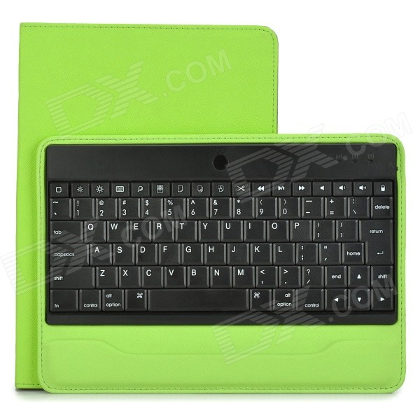 84-Key Bluetooth V3.0 Keyboard w/ Detachable PU Case for IPAD AIR - Green 84 key bluetooth v3 0 keyboard w detachable pu case for ipad air green