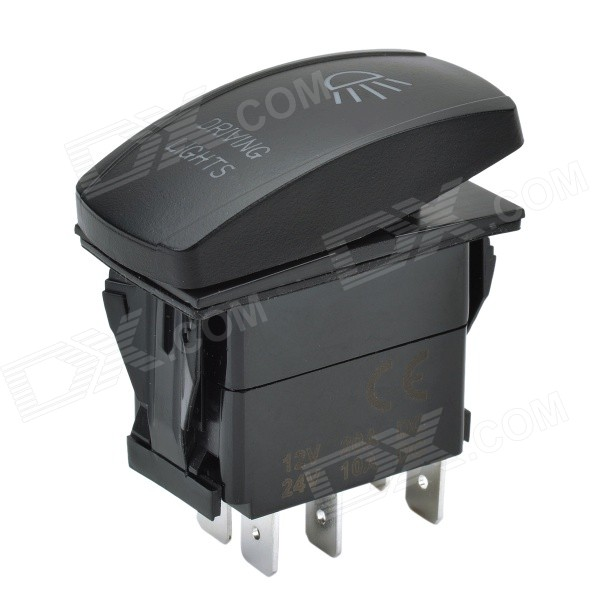DIY 12V / 24V 5-Pin Water Resistant Headlight Switch w/ Blue LED Backlight for Car & Yacht - Black