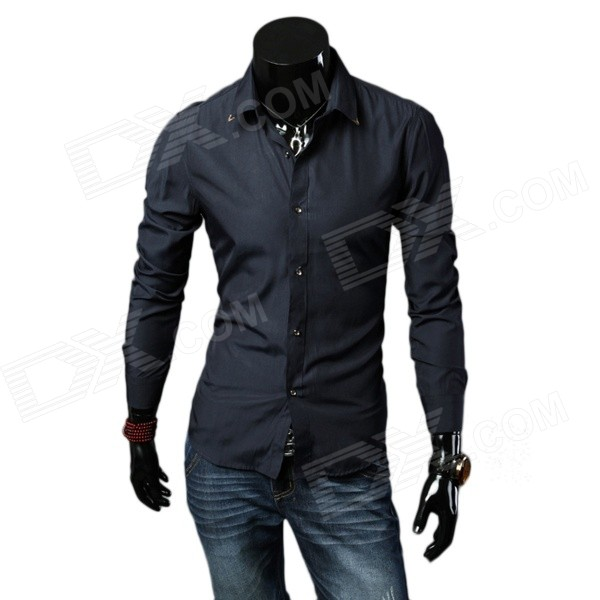 Men's Stylish Business Style Slim Long Sleeves Shirt - Navy Blue (Size L)