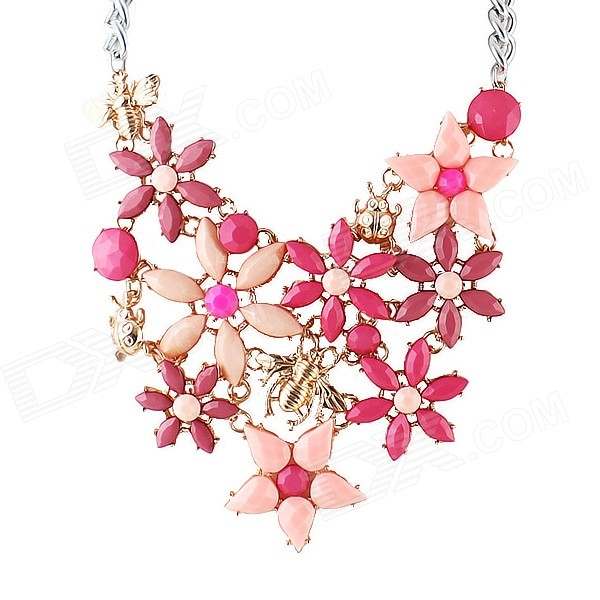 Nc-5861 Women's Artificial Gemstone Inlaid Flower Pattern Chunky Pendant Necklace - Pink exquisite candy color flower pattern pendant necklace for women