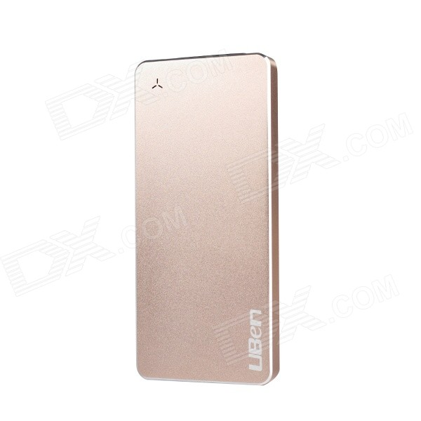 Uben U8 Ultra-thin 6000mAh Aluminum Alloy Li-polymer Battery Charger Power Bank - Golden ultra thin universal 5v 5000mah li polymer battery power bank w led indicator black