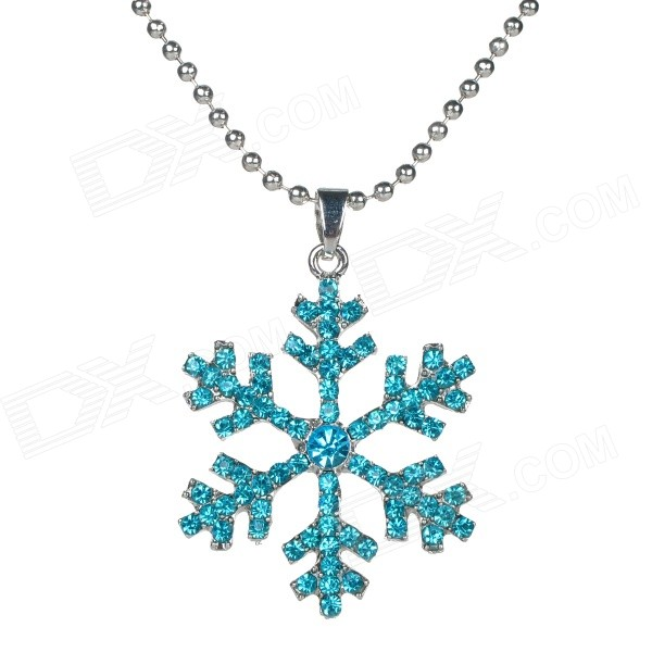 Women's Fashionable Snowflake Style Zinc Alloy Rhinestone Studded Pendant Necklace - Blue + Silver cool punk style cowhide chain zinc alloy rocket launcher pendant necklace brown silver 76cm