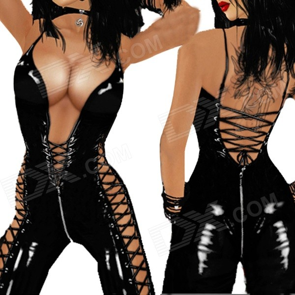 Ultra Sexy One Piece Patente de couro das mulheres sem mangas Magro Jumpsuit - Black