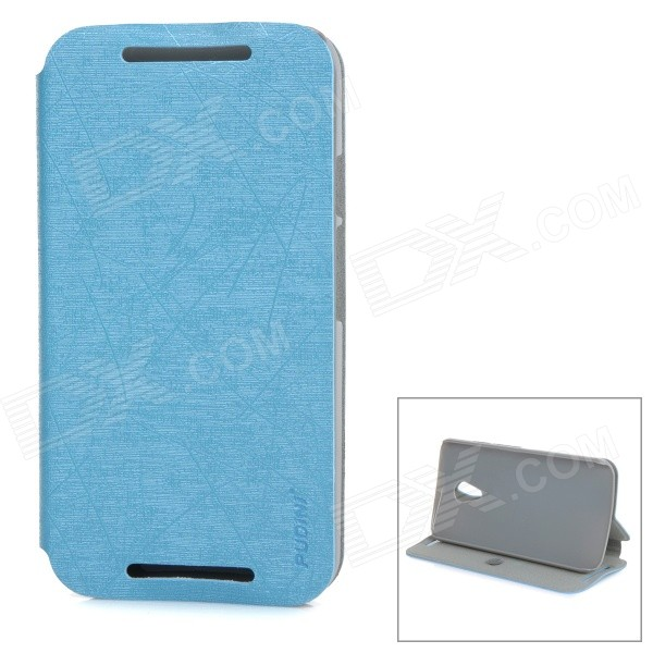 PUDINI WB-PDLG2 PU + PC Flip-Open Case w/ Stand for Motorola MOTO G2 - Blue pudini wb 530 protective flip open pu pc case w stand for nokia lumia 530 pink