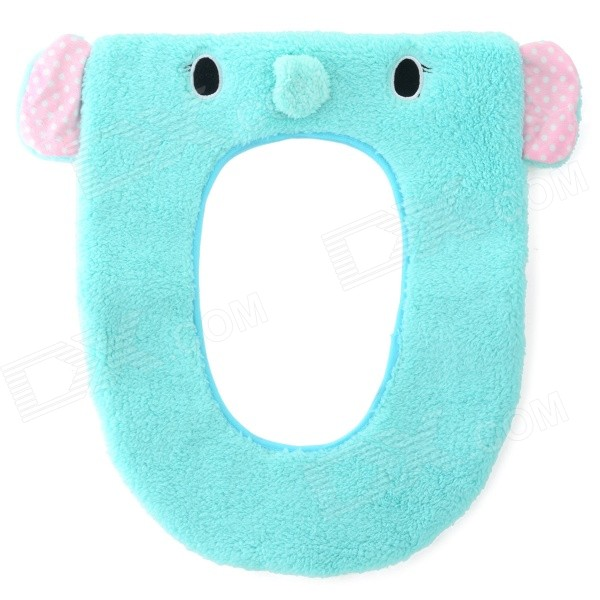 Cartoon Elephant Style Warm-keeping Flannel Toilet Mat Cushion - Blue thick coral fleece pu toilet warm pad mat blue