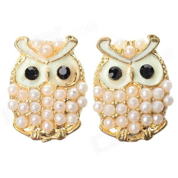 Women's Cute Owl Style Rhinestone Inlaid Zinc Alloy Ear Studs - White + Golden (Pair)