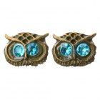 Women's Cute Owl Style Rhinestone Inlaid Zinc Alloy Ear Studs - Blue (Pair)