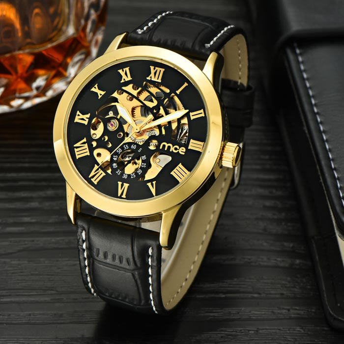 MCE Men's Casual PU Band Analog Mechanical Wrist Watch - Black + Golden