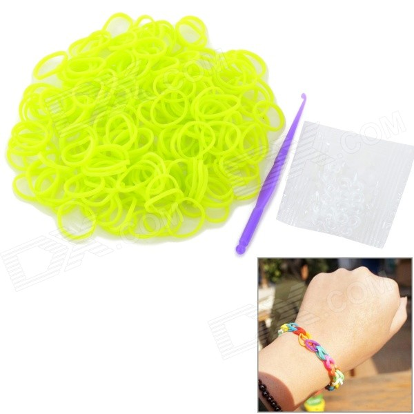 DIY Silicone Rubber Bands Bracelet for Children - Fluorescent Yellow (200 PCS)