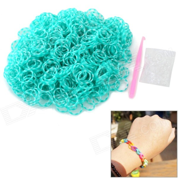 DIY Silicone Rubber Bands Bracelet for Children - White + Green (600 PCS)