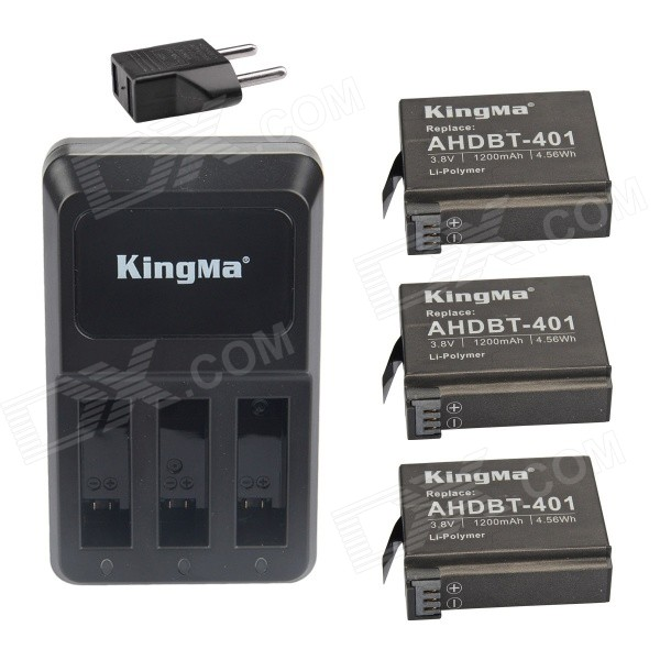 Kingma AHDBT-401 1060mAh Replacement 3-Batteries + 3-Slot US Charger + EU Adapter for Gopro Hero 4
