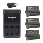 Kingma AHDBT-401 1060mAh Ersatz-3-Batterien + 3-Slot US Charger + EU-Adapter für Gopro Hero 4