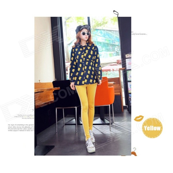 EU-88 Women's Casual Thickened Velvet Warm Pants - Yellow + White