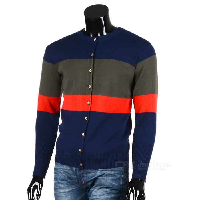 1401-Q26 Men's Fashionable Casual Splicing Long-Sleeved Knitting Cardigan Coat - Dark Blue (L)