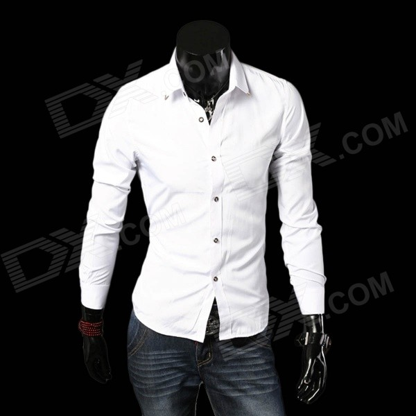 C712 Men's Stylish Slim Long-sleeved Cotton Business Shirt - White (L)