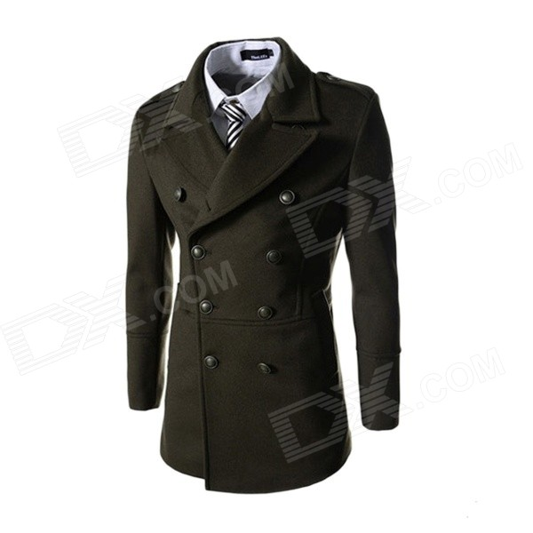 Fashionable Men's Slim Wool Double-breasted Coat - Army Green (L)