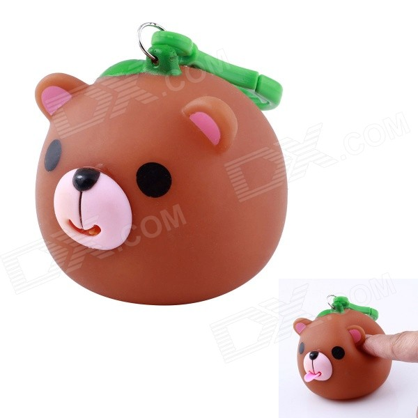 D0027 Funny Cute Little Bear Stress Reliever Toy w/ Sound Effect - Brown