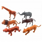 Vinyl Wild Animal Toy Set - Yellow + Multi-Color (6 PCS)