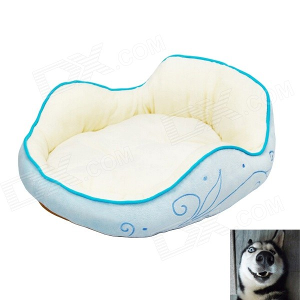 YDL-WJ4004-L Fashionable Waves Style Bed w/ Cushion for Pet Cat / Dog - Blue + Multi-Colored (L)