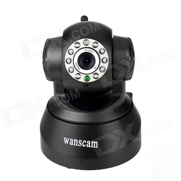 WANSCAM JW0008 1/4 CMOS 0.3MP Indoor IP Camera w/ Wi-Fi, 10-IR LED - Black (UK Plug) wanscam jw0018 1 4 cmos 0 3mp p2p indoor ip camera w 30 ir led wi fi tf white uk plug
