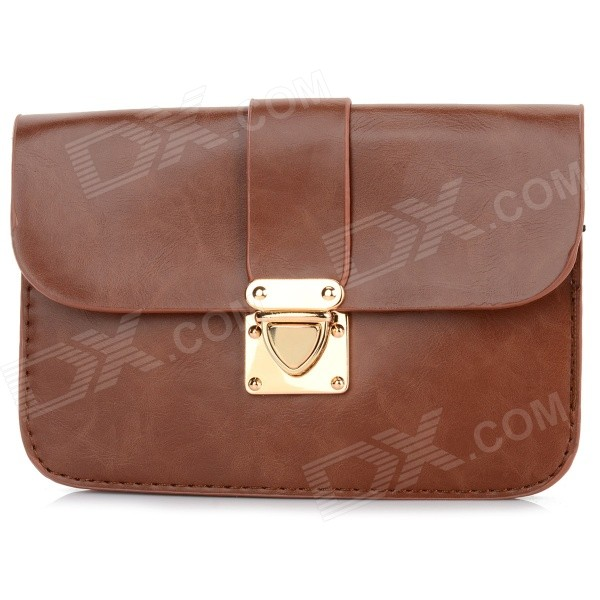 Women's Fashionable PU Long Strap Satchel / Messenger Shoulder Bag - Brown