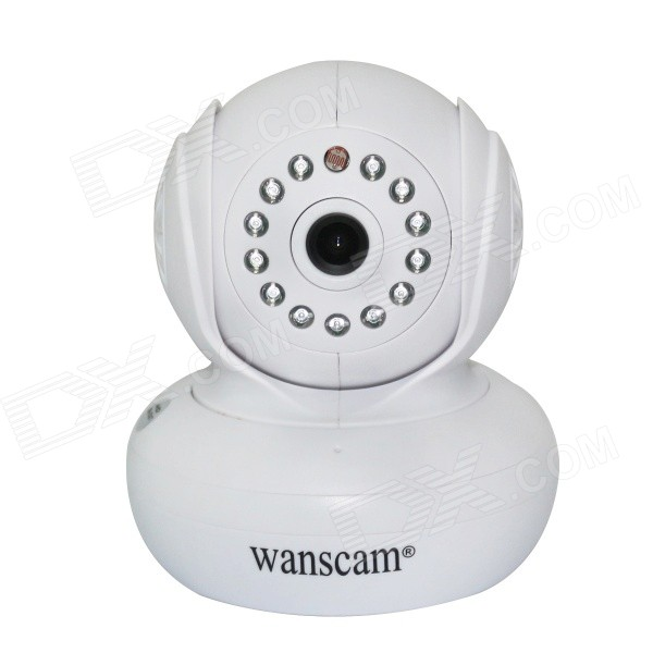 Wanscam JW0005 0.3MP 1/4 CMOS Wireless Wi-Fi IP Camera w/ 13-IR LED, TF - White (UK Plug) wanscam jw0018 1 4 cmos 0 3mp p2p indoor ip camera w 30 ir led wi fi tf white uk plug