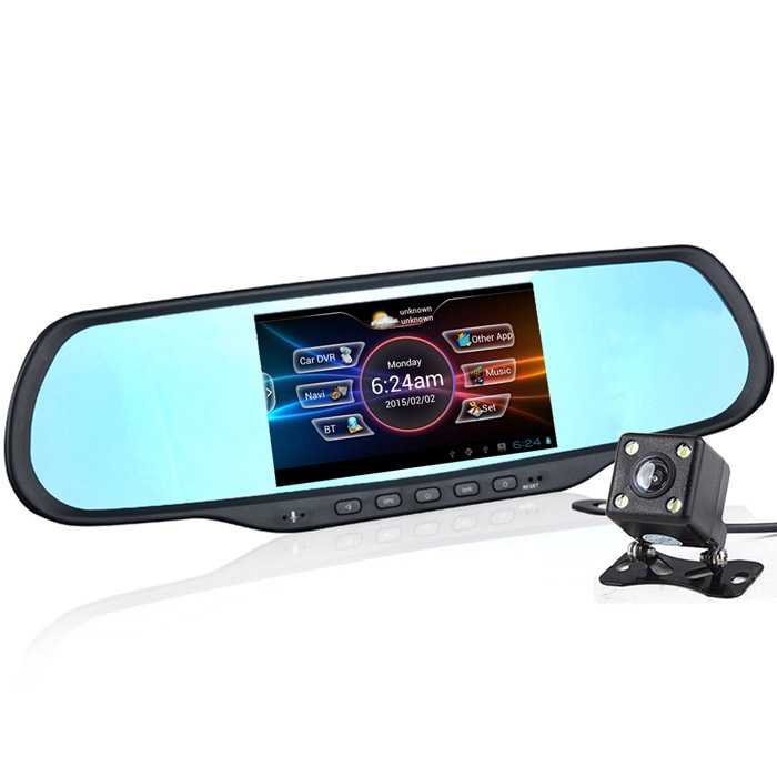 5 HD 1080P Android Car DVR Camcorder w/ Rearview Mirror / GPS / Hands-free Calls / US + Canada Map