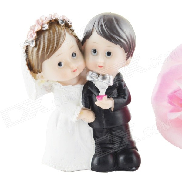 FEIS Cute the Bride and the Bridegroom Resin Decoration - White + Black